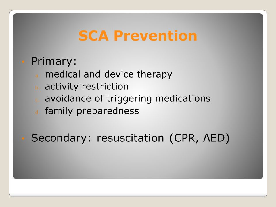 SCA Prevention Screening Questions: