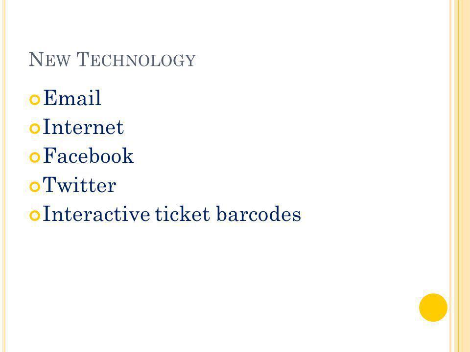 N EW T ECHNOLOGY Email Internet Facebook Twitter Interactive ticket barcodes