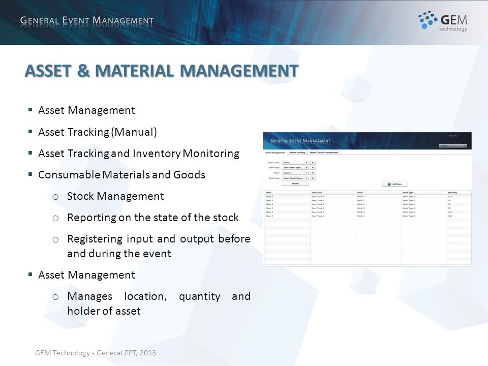 GEM Technology - General PPT, 2013 ASSET & MATERIAL MANAGEMENT Asset Management Asset Tracking (Manual) Asset Tracking and Inventory Monitoring Consumable Materials and Goods o Stock Management o Reporting on the state of the stock o Registering input and output before and during the event Asset Management o Manages location, quantity and holder of asset