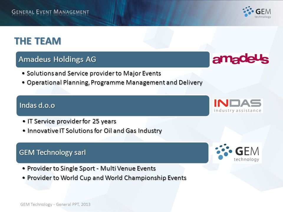 GEM Technology - General PPT, 2013 THE TEAM Amadeus Holdings AG Solutions and Service provider to Major EventsSolutions and Service provider to Major Events Operational Planning, Programme Management and DeliveryOperational Planning, Programme Management and Delivery Indas d.o.o IT Service provider for 25 yearsIT Service provider for 25 years Innovative IT Solutions for Oil and Gas IndustryInnovative IT Solutions for Oil and Gas Industry GEM Technology sarl Provider to Single Sport - Multi Venue EventsProvider to Single Sport - Multi Venue Events Provider to World Cup and World Championship EventsProvider to World Cup and World Championship Events