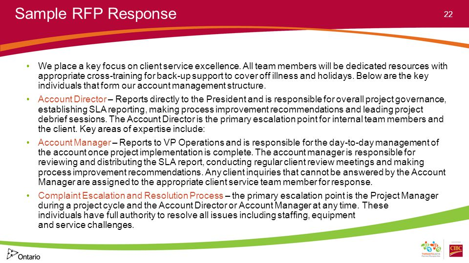 Sample RFP Response We place a key focus on client service excellence. All team members will be dedicated resources with appropriate cross-training fo
