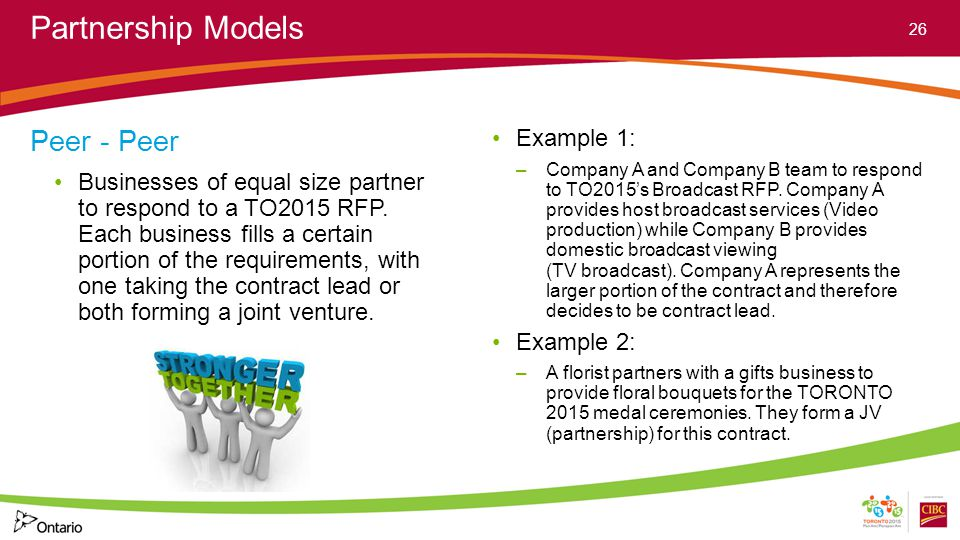 Partnership Models Peer - Peer Businesses of equal size partner to respond to a TO2015 RFP.