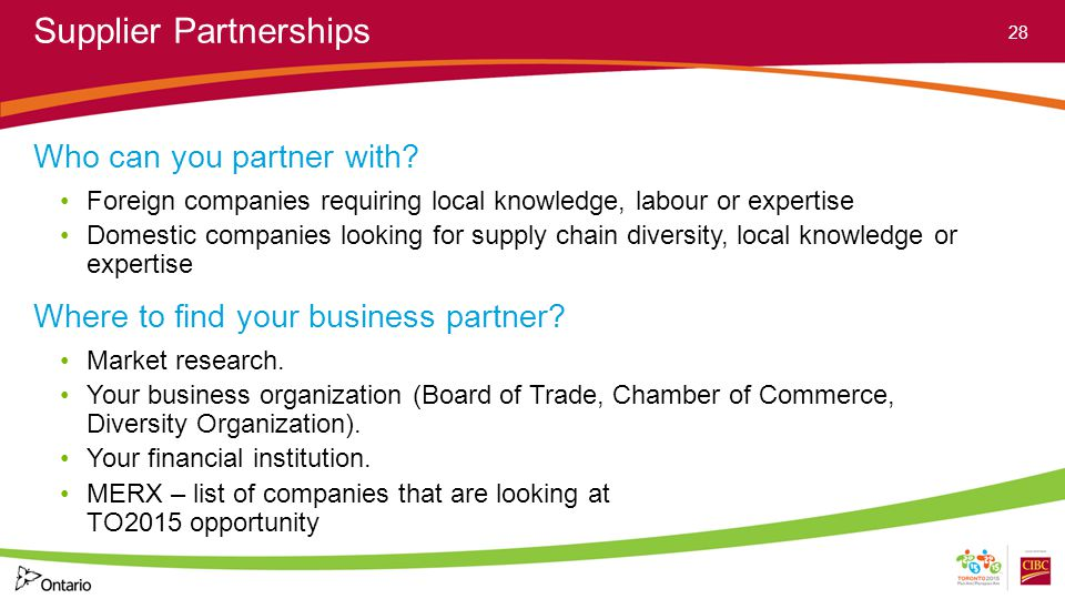 Supplier Partnerships Who can you partner with.