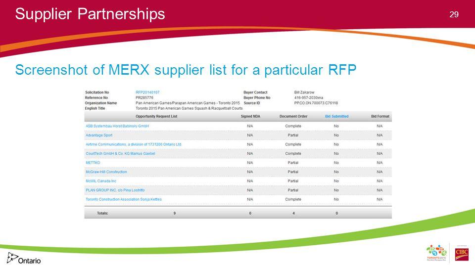 Supplier Partnerships Screenshot of MERX supplier list for a particular RFP 29
