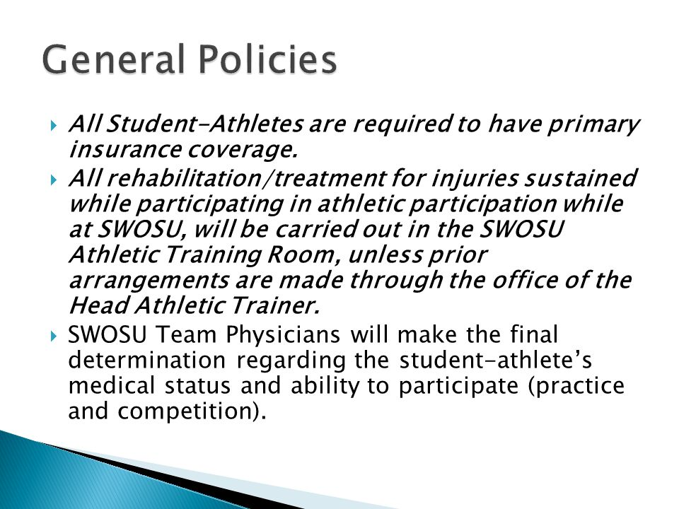 All Student-Athletes are required to have primary insurance coverage.