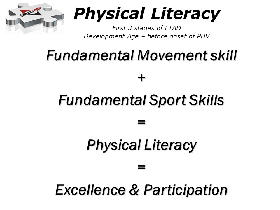 Fundamental Movement skill + Fundamental Sport Skills = Physical Literacy = Excellence & Participation Physical Literacy First 3 stages of LTAD Development Age – before onset of PHV