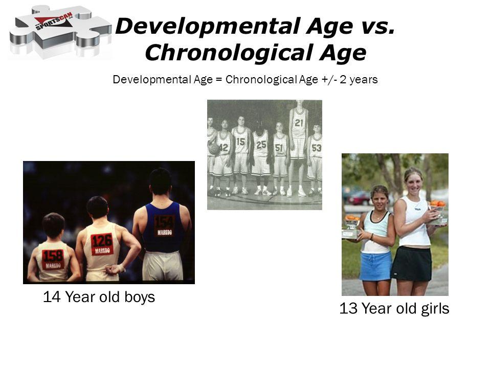 Developmental Age vs. Chronological Age 14 Year old boys 13 Year old girls Developmental Age = Chronological Age +/- 2 years