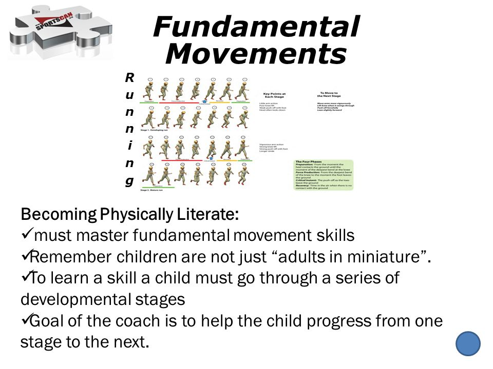 Becoming Physically Literate: must master fundamental movement skills Remember children are not just adults in miniature.