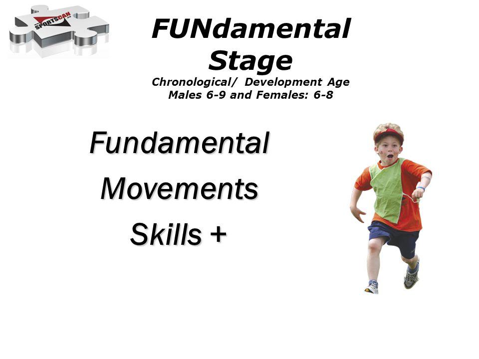 FundamentalMovements Skills + FUNdamental Stage Chronological/ Development Age Males 6-9 and Females: 6-8