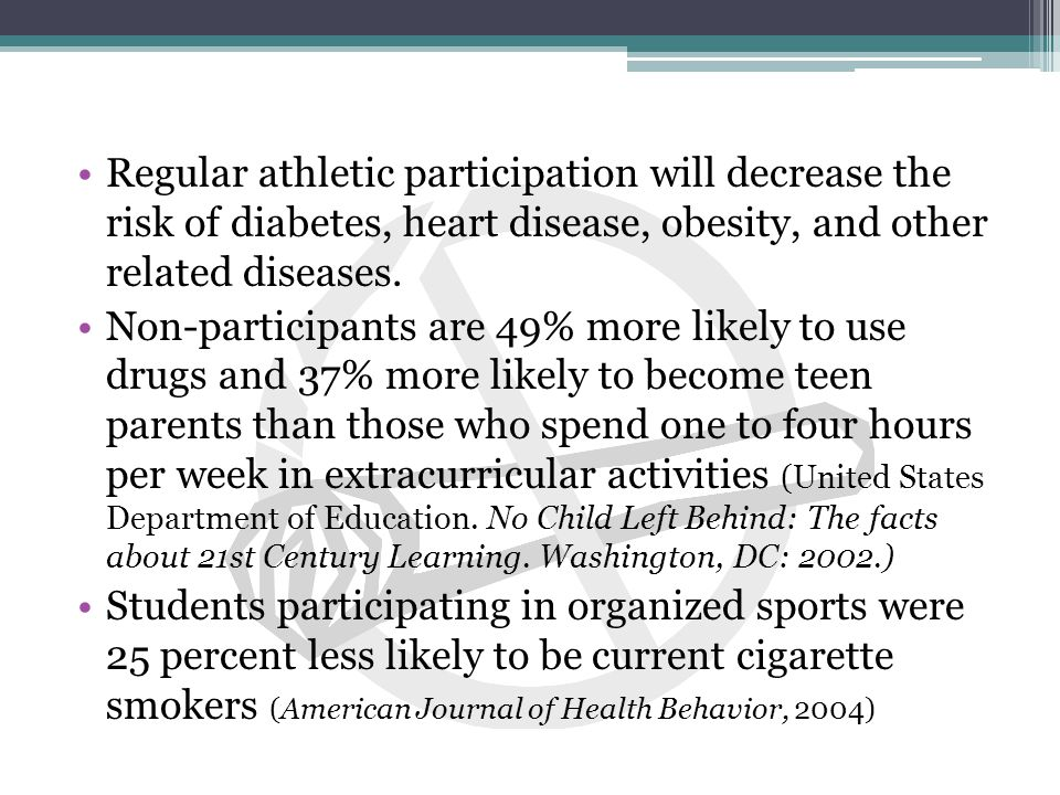 Participation in extracurricular activities benefits the student Participants have higher GPAs than non- participants(2.84 to 2.68) Participants have lower absenteeism than non- participants (4.9 days to 10.8 days) 75% of participants were A or B students in high school Reduced the drop out rate by 40 %.