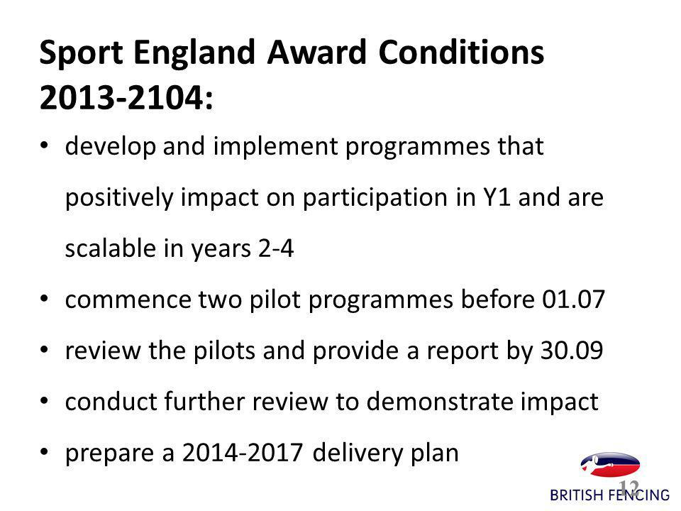 12 Sport England Award Conditions 2013-2104: develop and implement programmes that positively impact on participation in Y1 and are scalable in years 2-4 commence two pilot programmes before 01.07 review the pilots and provide a report by 30.09 conduct further review to demonstrate impact prepare a 2014-2017 delivery plan