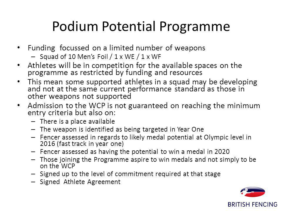 Podium Potential Programme Funding focussed on a limited number of weapons – Squad of 10 Mens Foil / 1 x WE / 1 x WF Athletes will be in competition for the available spaces on the programme as restricted by funding and resources This mean some supported athletes in a squad may be developing and not at the same current performance standard as those in other weapons not supported Admission to the WCP is not guaranteed on reaching the minimum entry criteria but also on: – There is a place available – The weapon is identified as being targeted in Year One – Fencer assessed in regards to likely medal potential at Olympic level in 2016 (fast track in year one) – Fencer assessed as having the potential to win a medal in 2020 – Those joining the Programme aspire to win medals and not simply to be on the WCP – Signed up to the level of commitment required at that stage – Signed Athlete Agreement