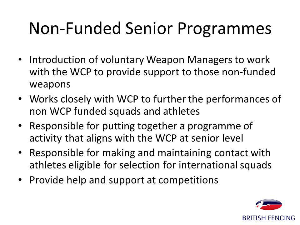 Non-Funded Senior Programmes Introduction of voluntary Weapon Managers to work with the WCP to provide support to those non-funded weapons Works closely with WCP to further the performances of non WCP funded squads and athletes Responsible for putting together a programme of activity that aligns with the WCP at senior level Responsible for making and maintaining contact with athletes eligible for selection for international squads Provide help and support at competitions