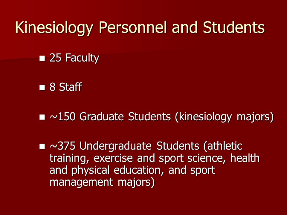 Kinesiology Personnel and Students 25 Faculty 25 Faculty 8 Staff 8 Staff ~150 Graduate Students (kinesiology majors) ~150 Graduate Students (kinesiology majors) ~375 Undergraduate Students (athletic training, exercise and sport science, health and physical education, and sport management majors) ~375 Undergraduate Students (athletic training, exercise and sport science, health and physical education, and sport management majors)