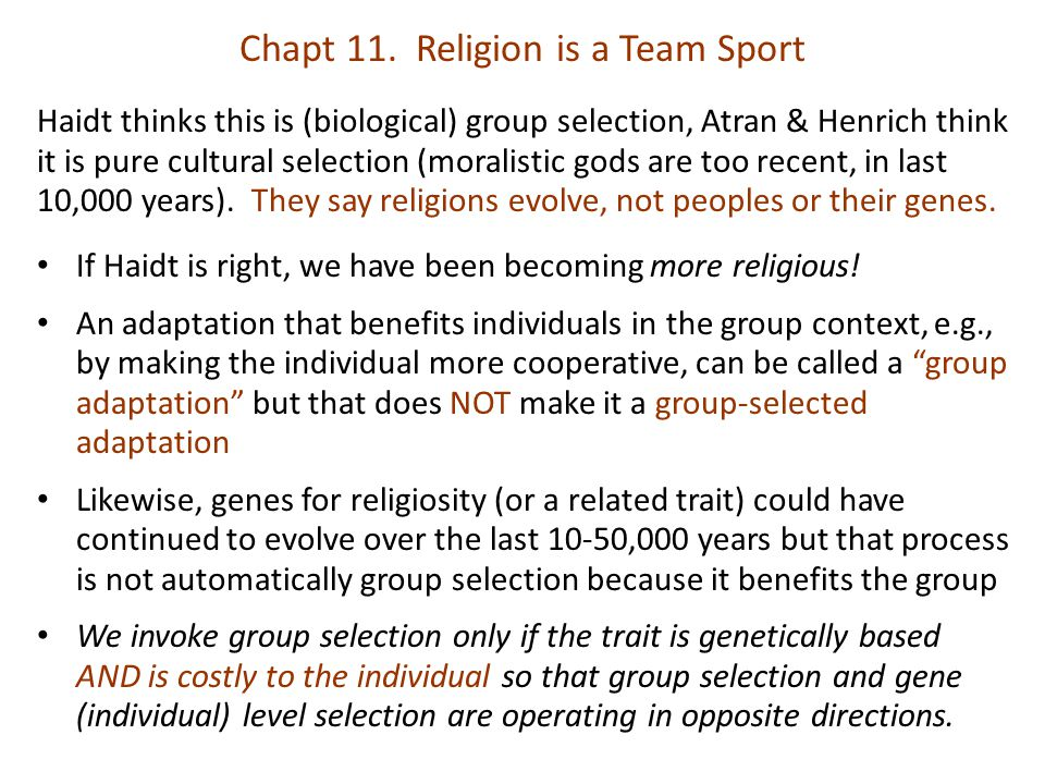 Haidt thinks this is (biological) group selection, Atran & Henrich think it is pure cultural selection (moralistic gods are too recent, in last 10,000 years).