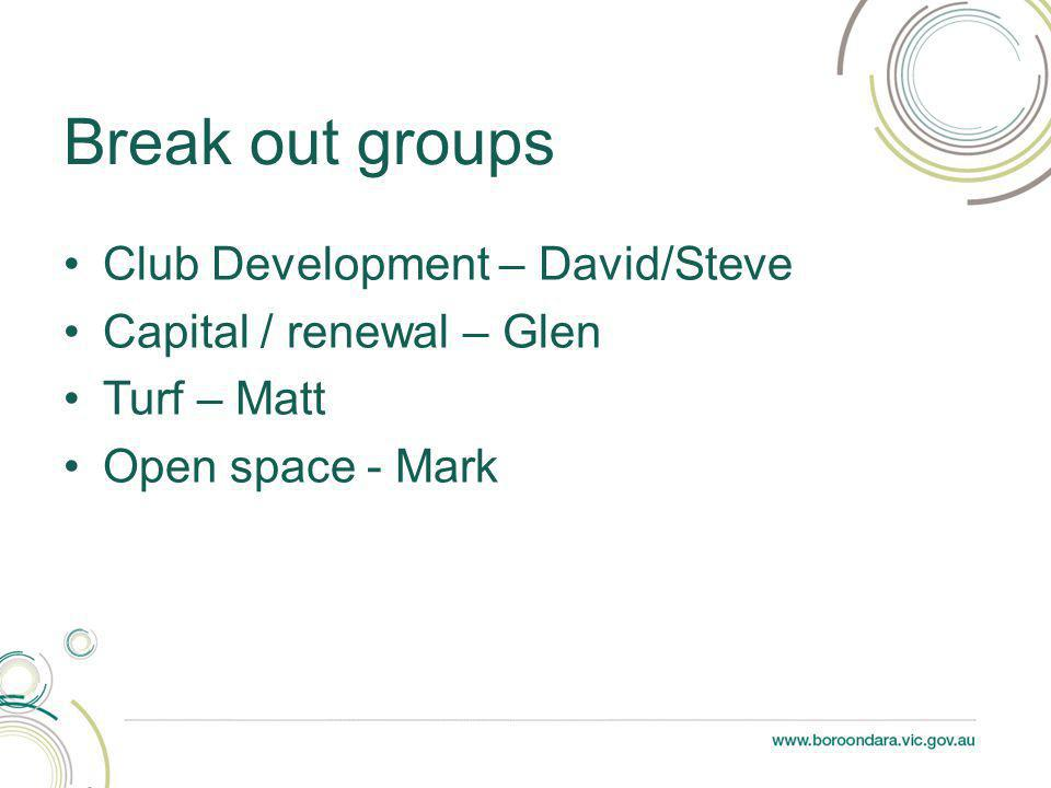 Club Development – David/Steve Capital / renewal – Glen Turf – Matt Open space - Mark Break out groups