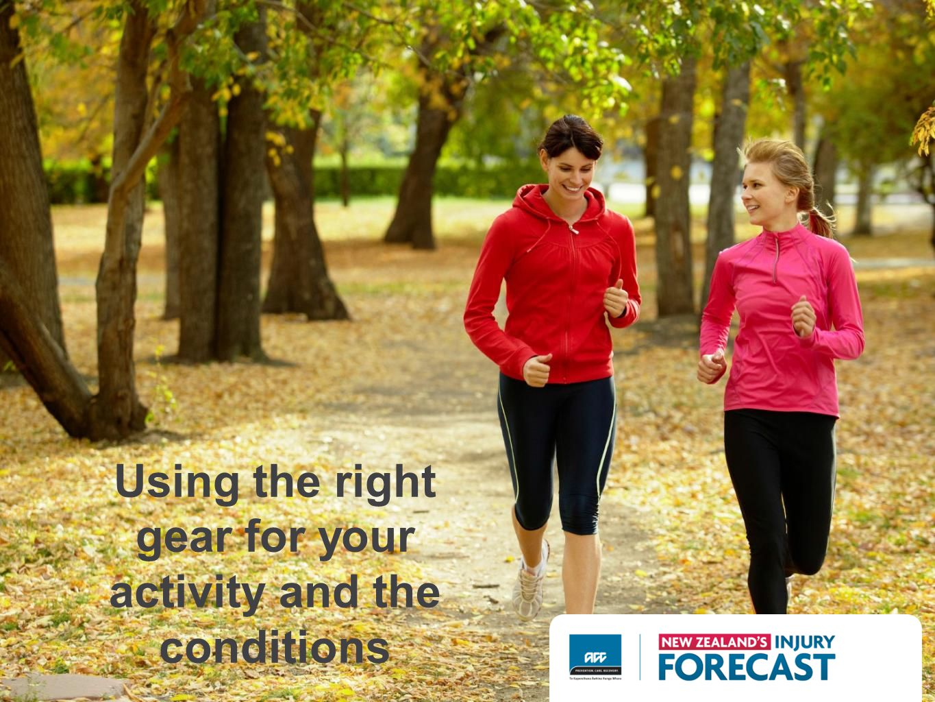 Using the right gear for your activity and the conditions
