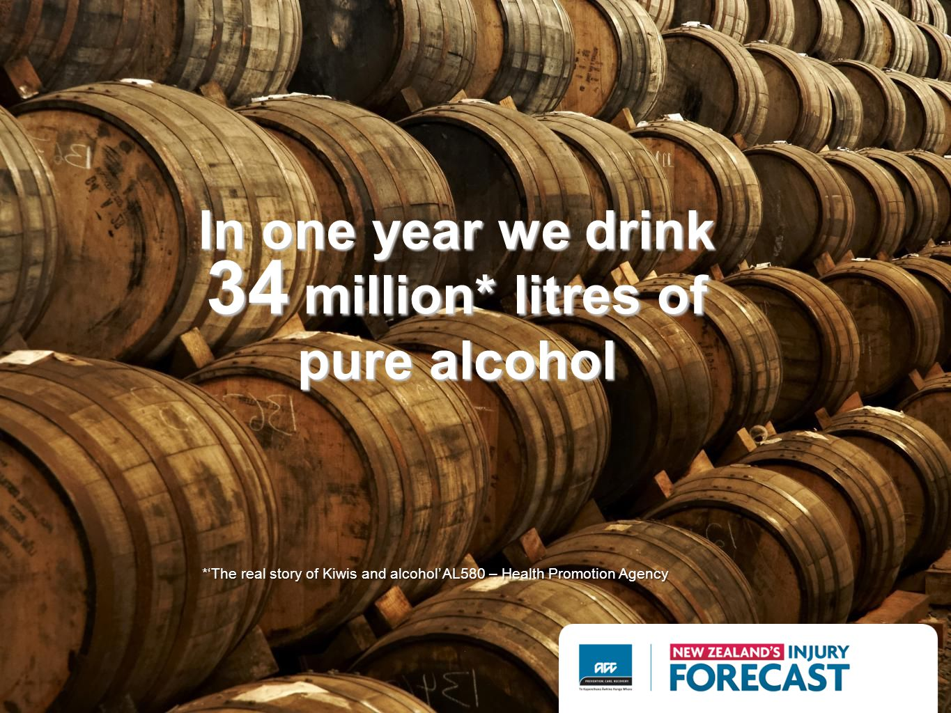 In one year we drink 34 million* litres of pure alcohol *The real story of Kiwis and alcohol AL580 – Health Promotion Agency