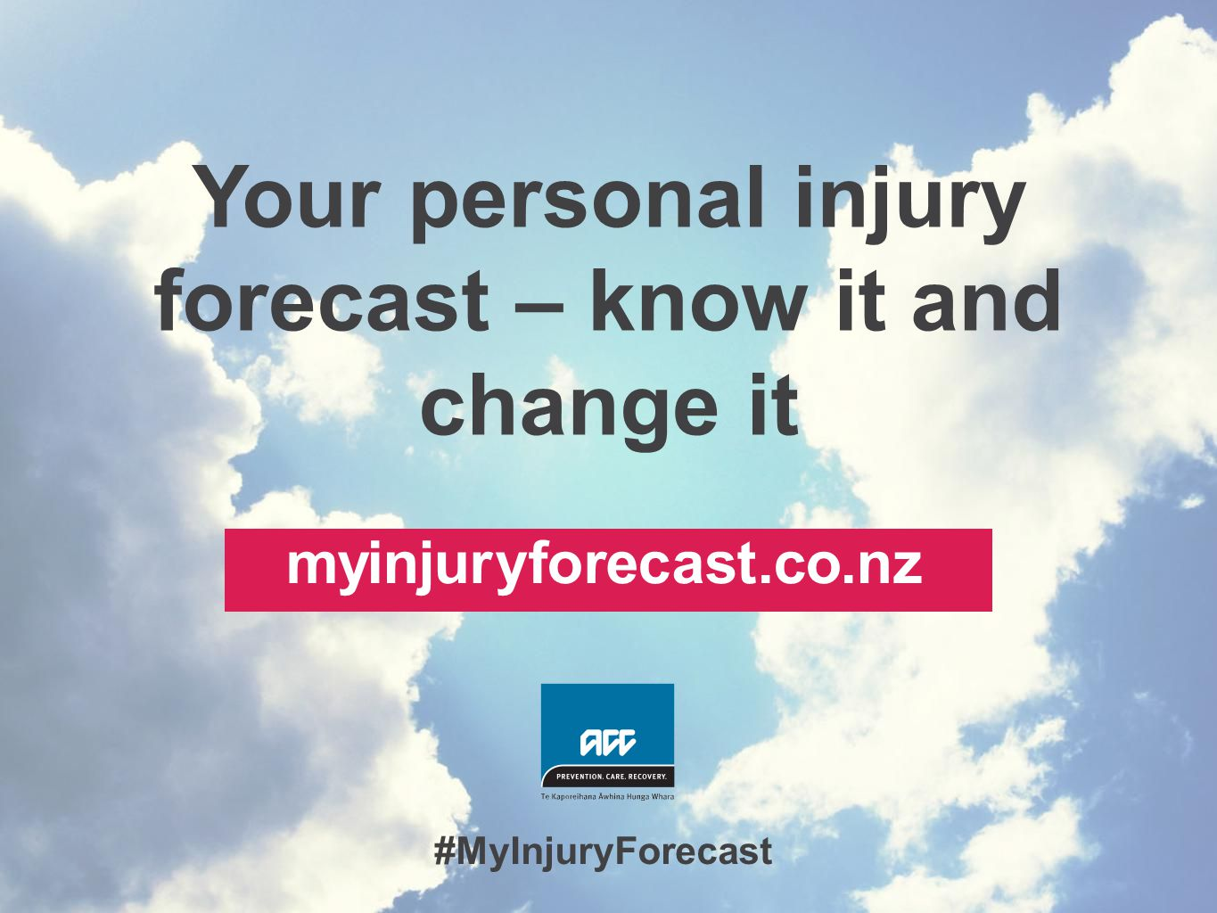 Your personal injury forecast – know it and change it myinjuryforecast.co.nz #MyInjuryForecast