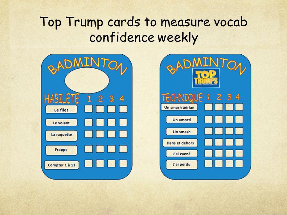 Top Trump cards to measure vocab confidence weekly