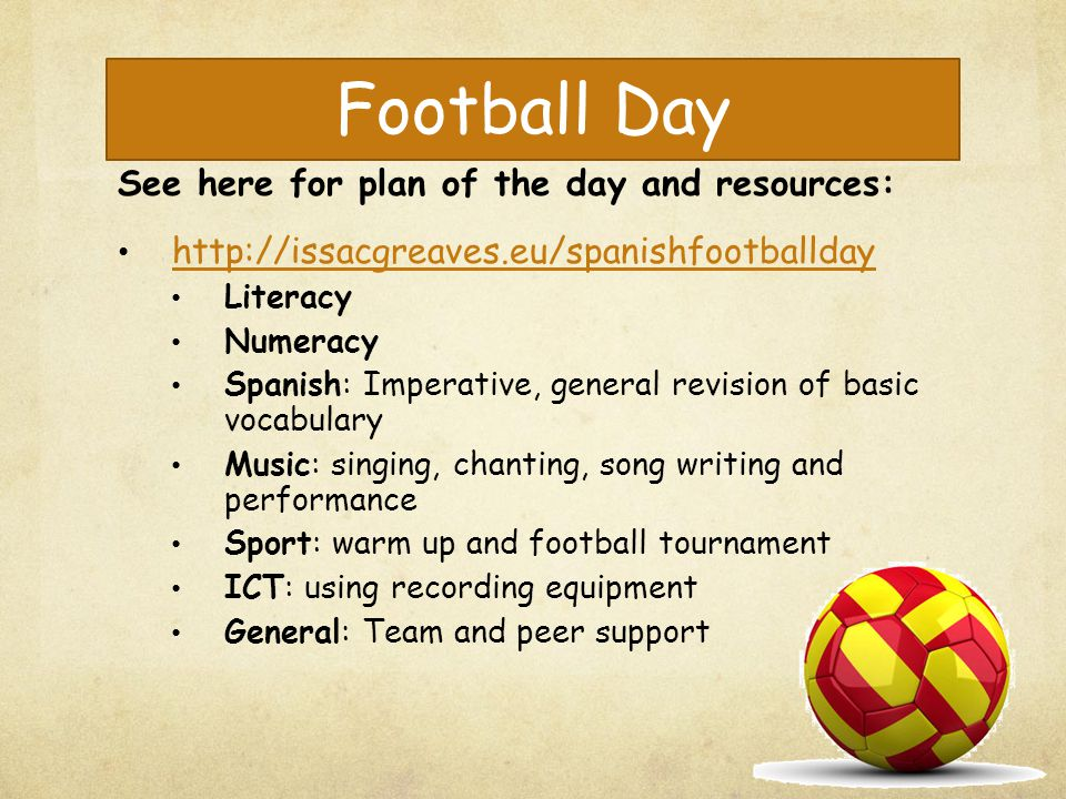 Football Day See here for plan of the day and resources: http://issacgreaves.eu/spanishfootballday Literacy Numeracy Spanish: Imperative, general revi