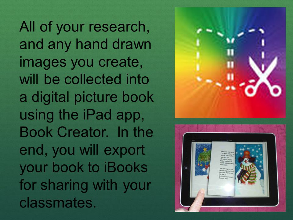 All of your research, and any hand drawn images you create, will be collected into a digital picture book using the iPad app, Book Creator. In the end