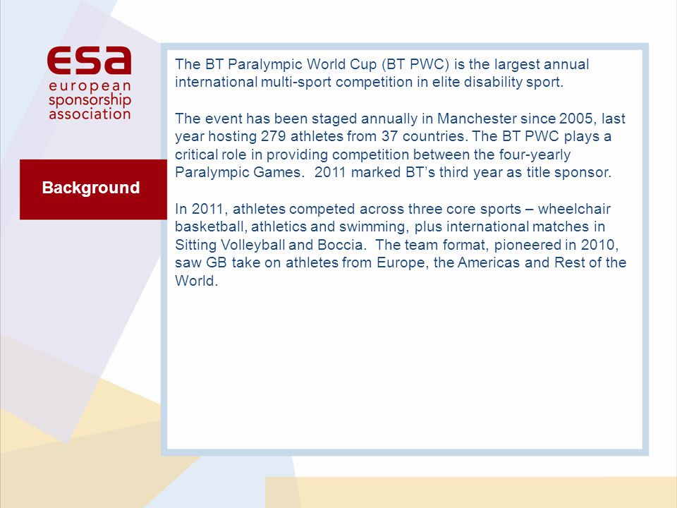 Background The BT Paralympic World Cup (BT PWC) is the largest annual international multi-sport competition in elite disability sport.