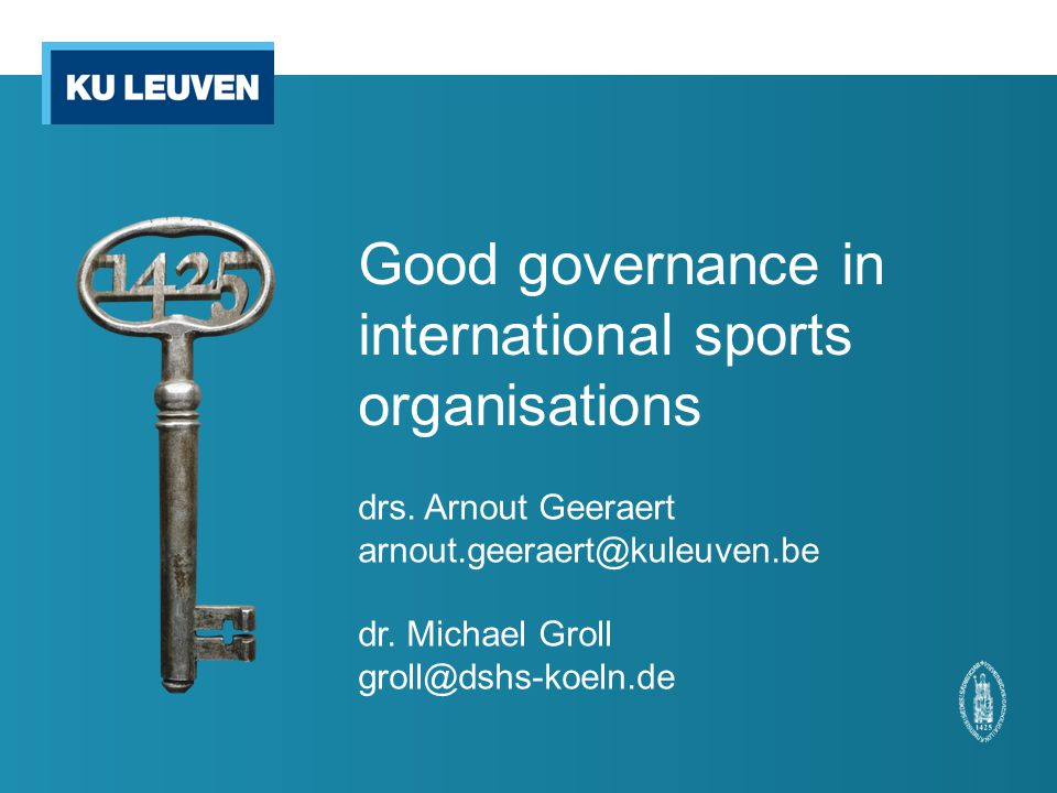 Good governance in international sports organisations drs.