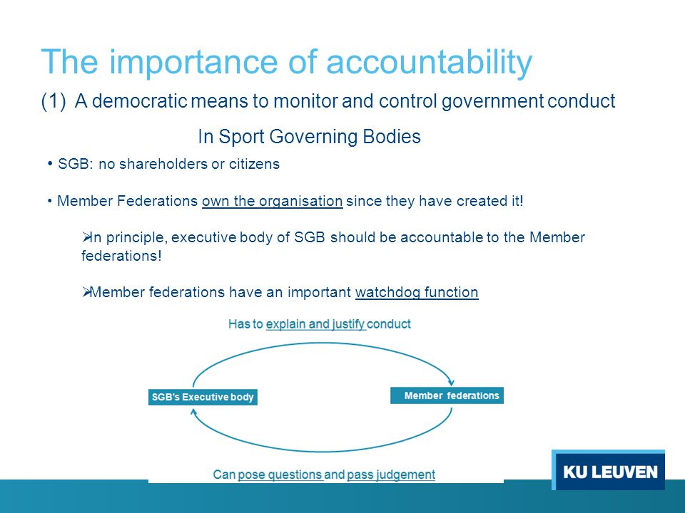The importance of accountability (1) A democratic means to monitor and control government conduct SGB: no shareholders or citizens Member Federations own the organisation since they have created it.