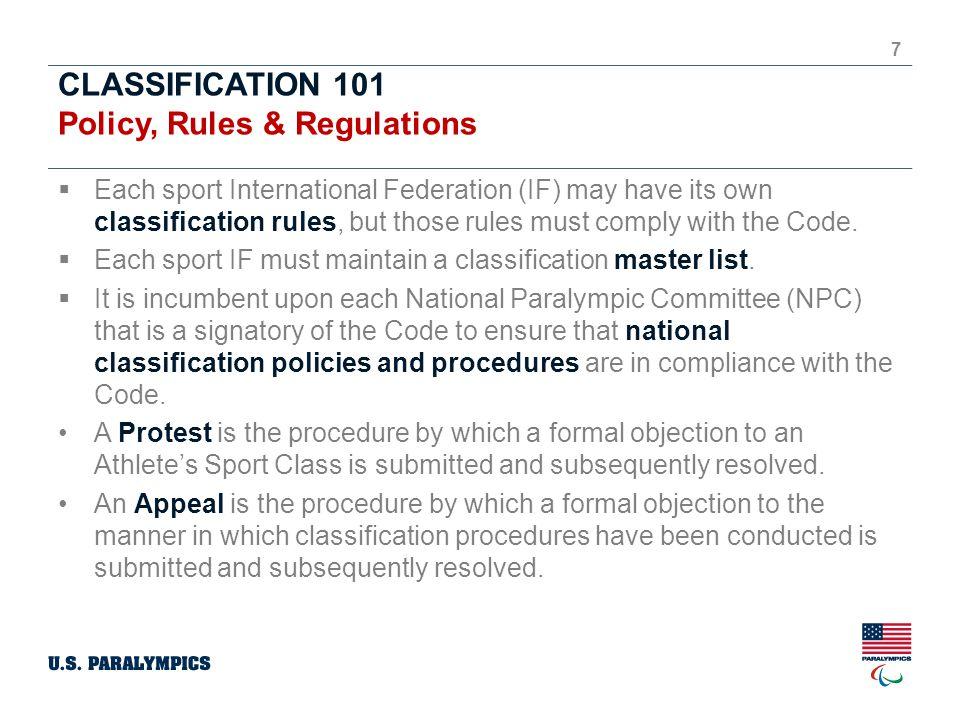 CLASSIFICATION 101 U.S.