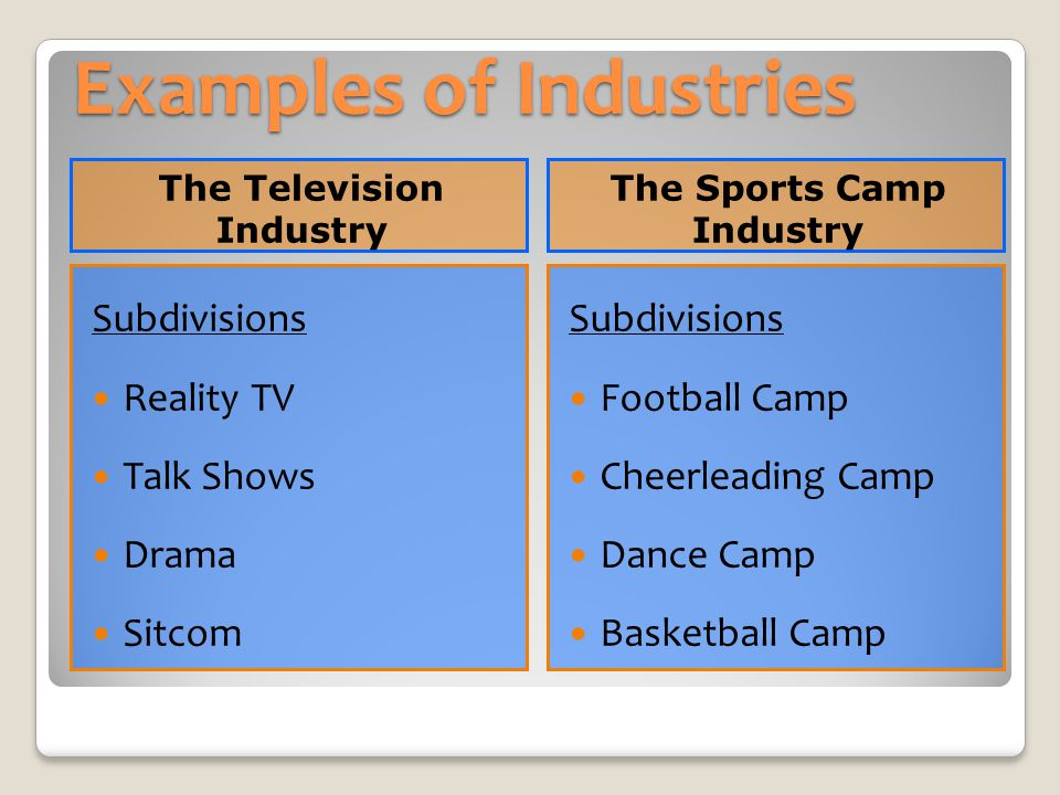 Examples of Industries The Television Industry The Sports Camp Industry Subdivisions Reality TV Talk Shows Drama Sitcom Subdivisions Football Camp Che
