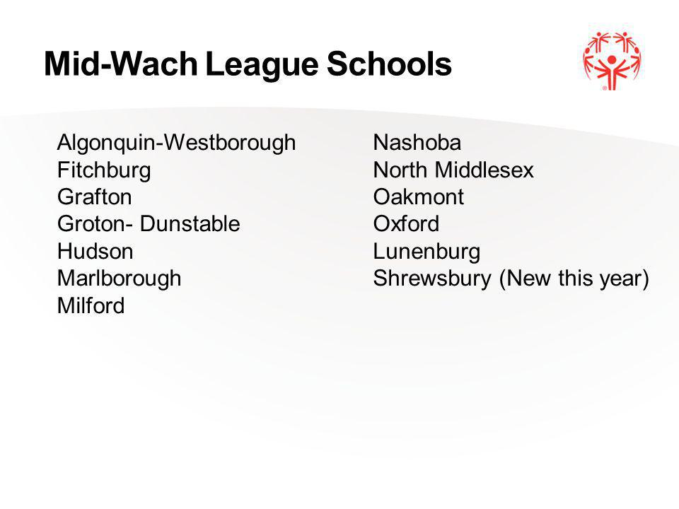 Mid-Wach League Schools Algonquin-Westborough Fitchburg Grafton Groton- Dunstable Hudson Marlborough Milford Nashoba North Middlesex Oakmont Oxford Lunenburg Shrewsbury (New this year)