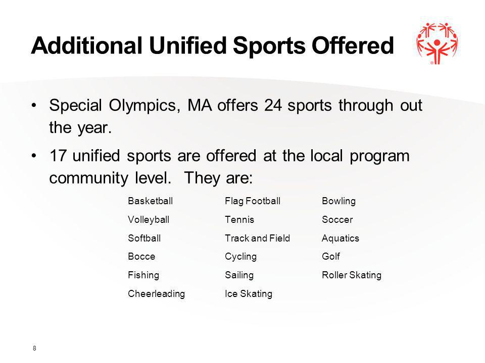 Additional Unified Sports Offered Special Olympics, MA offers 24 sports through out the year.