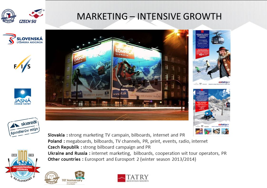 MARKETING – INTENSIVE GROWTH Slovakia : strong marketing TV campain, bilboards, internet and PR Poland : megaboards, bilboards, TV channels, PR, print