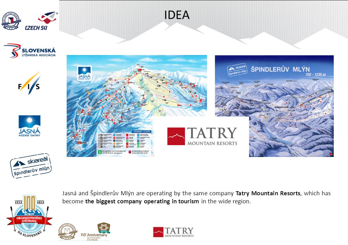 IDEA Jasná and Špindlerův Mlýn are operating by the same company Tatry Mountain Resorts, which has become the biggest company operating in tourism in