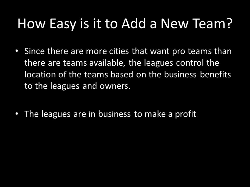 How Easy is it to Add a New Team.