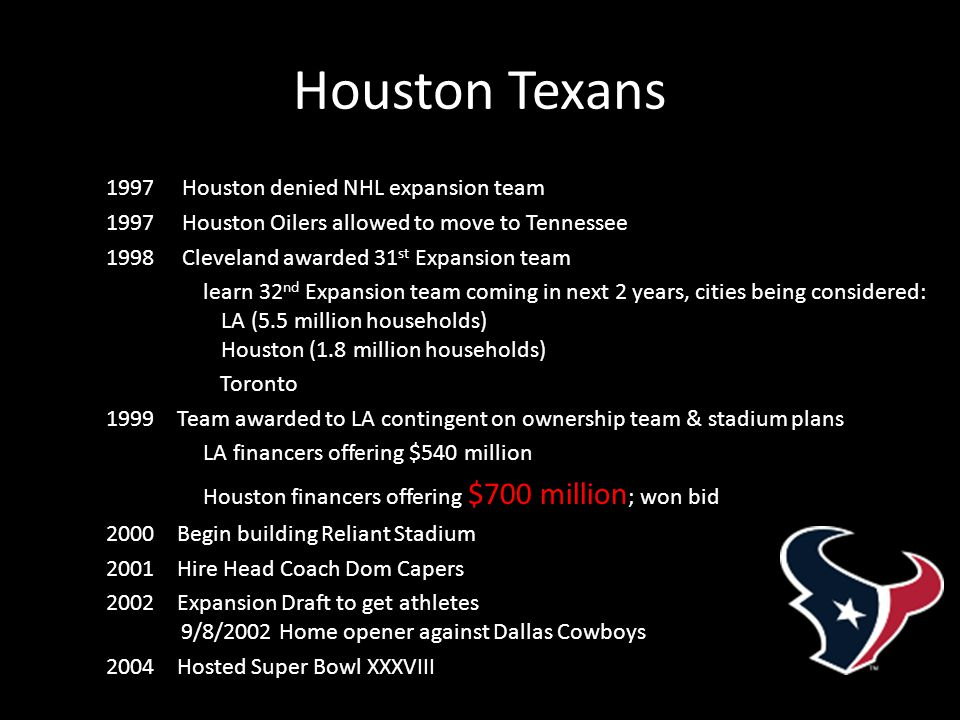 Houston Texans 1997 Houston denied NHL expansion team 1997 Houston Oilers allowed to move to Tennessee 1998 Cleveland awarded 31 st Expansion team learn 32 nd Expansion team coming in next 2 years, cities being considered: LA (5.5 million households) Houston (1.8 million households) Toronto 1999 Team awarded to LA contingent on ownership team & stadium plans LA financers offering $540 million Houston financers offering $700 million ; won bid 2000 Begin building Reliant Stadium 2001 Hire Head Coach Dom Capers 2002 Expansion Draft to get athletes 9/8/2002 Home opener against Dallas Cowboys 2004 Hosted Super Bowl XXXVIII