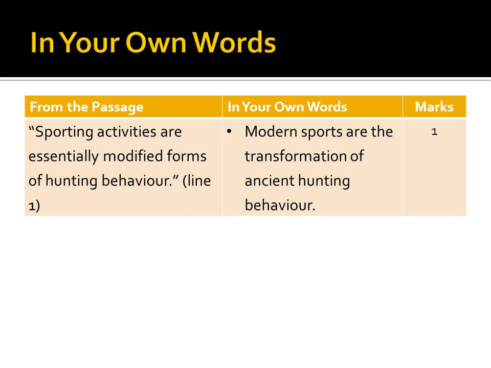 From the PassageIn Your Own WordsMarks Sporting activities are essentially modified forms of hunting behaviour.