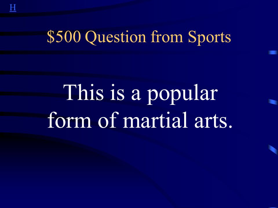 H $400 Answer from Sports What is Formula One?