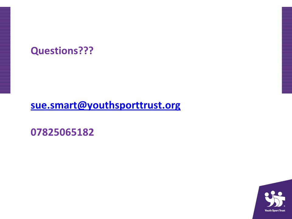 Questions sue.smart@youthsporttrust.org 07825065182
