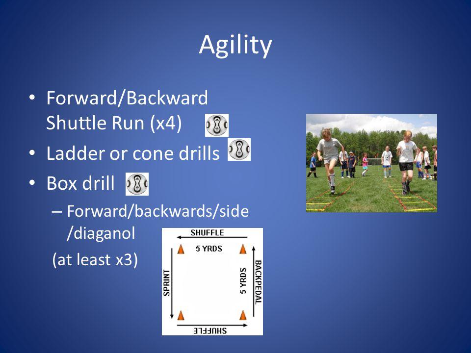 Agility Forward/Backward Shuttle Run (x4) Ladder or cone drills Box drill – Forward/backwards/side /diaganol (at least x3)