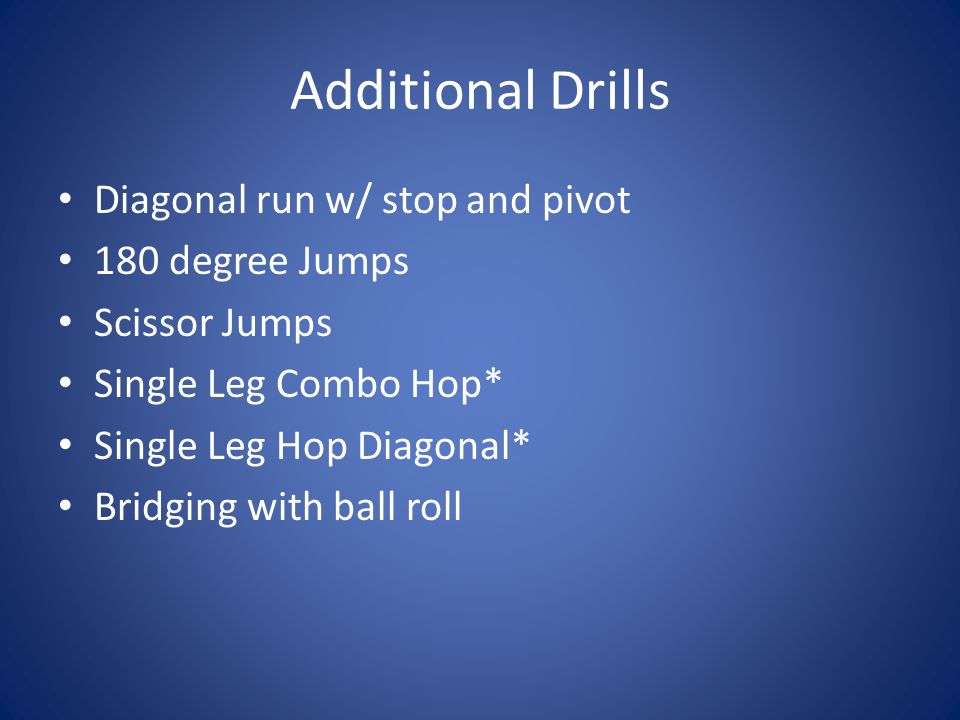 Additional Drills Diagonal run w/ stop and pivot 180 degree Jumps Scissor Jumps Single Leg Combo Hop* Single Leg Hop Diagonal* Bridging with ball roll