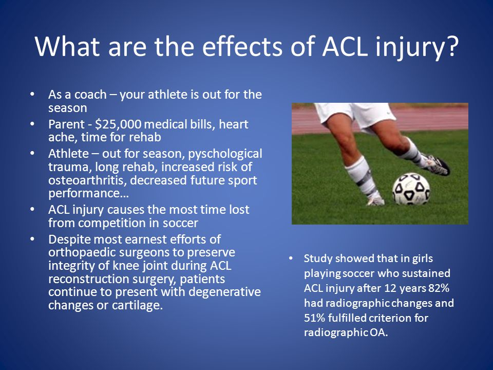 BSC and Cascade Sports Teamed up to implement ACL injury prevention program Biggest barriers to implementing ACL program – Cost – Time away from technical coaching and training – Athlete interest – Equipment – Sustainability