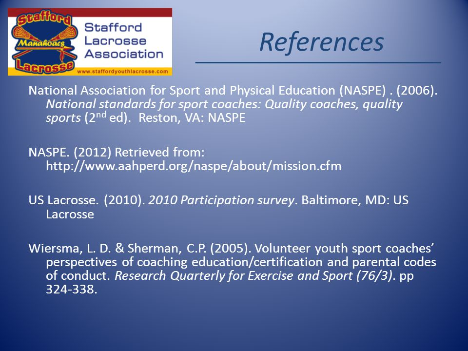 References National Association for Sport and Physical Education (NASPE).