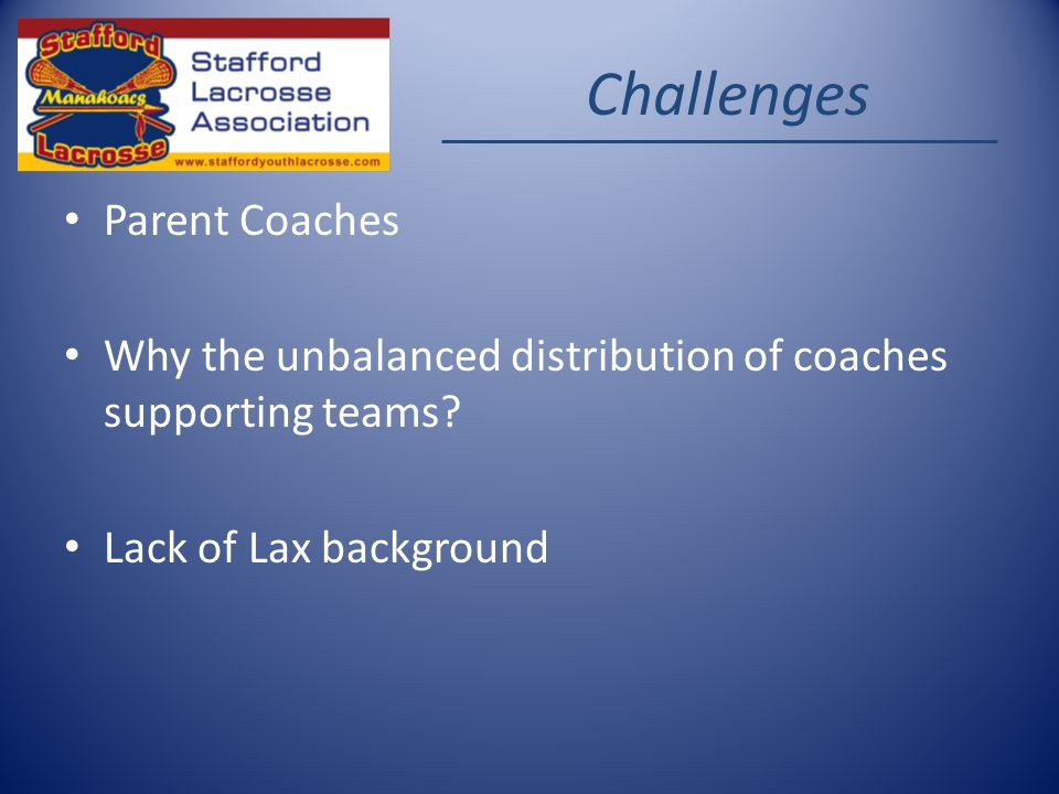 Challenges Parent Coaches Why the unbalanced distribution of coaches supporting teams.