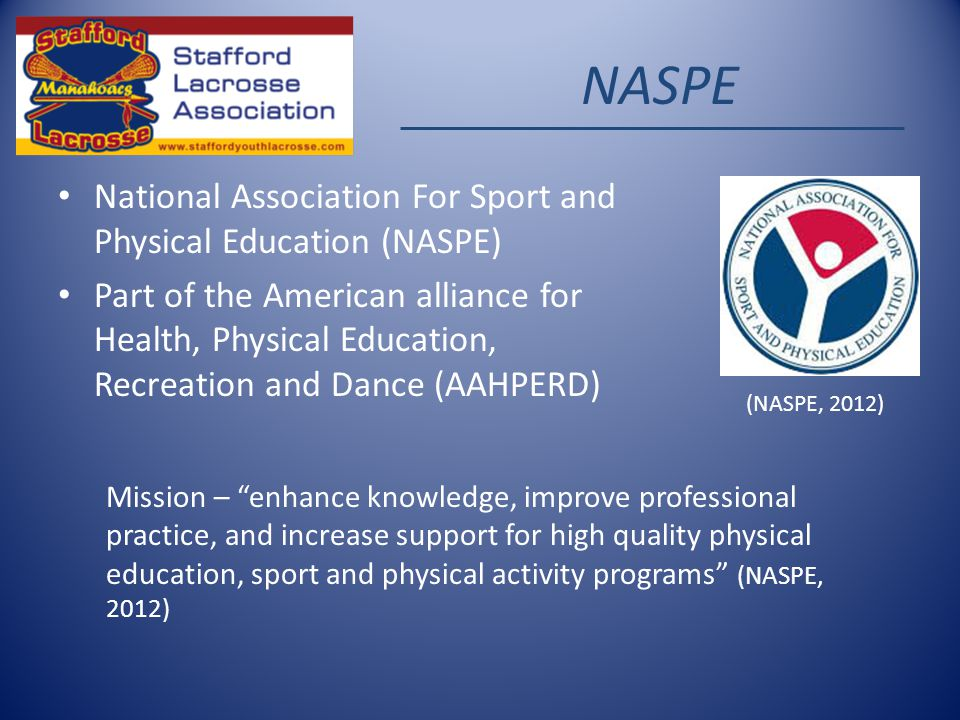 NASPE National Association For Sport and Physical Education (NASPE) Part of the American alliance for Health, Physical Education, Recreation and Dance (AAHPERD) Mission – enhance knowledge, improve professional practice, and increase support for high quality physical education, sport and physical activity programs (NASPE, 2012) (NASPE, 2012)