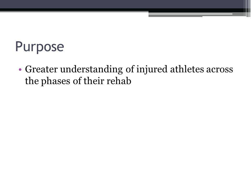 Purpose Greater understanding of injured athletes across the phases of their rehab