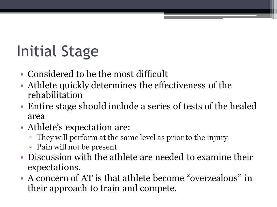 Initial Stage Considered to be the most difficult Athlete quickly determines the effectiveness of the rehabilitation Entire stage should include a ser