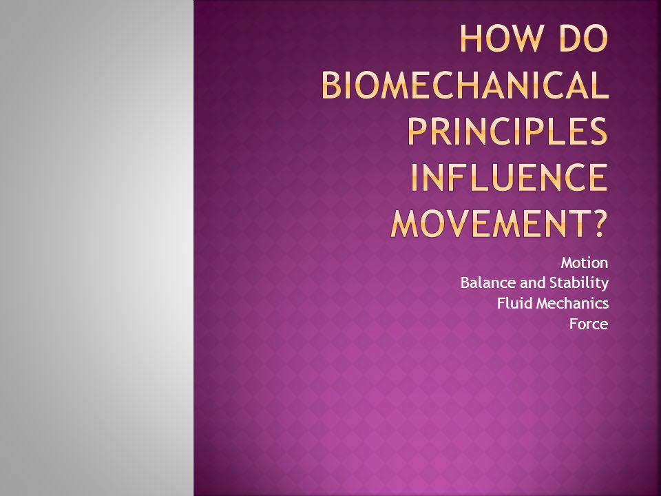 Motion Balance and Stability Fluid Mechanics Force