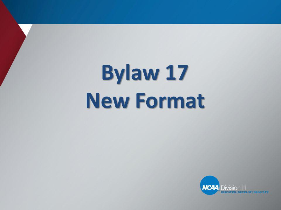 General Sports Legislation.– Location of general regulations: Beginning of Bylaw 17.
